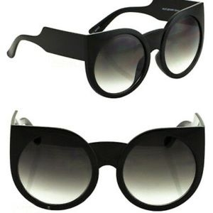 Big Round Lens CatEye BOHO Oversized Black Glasses
